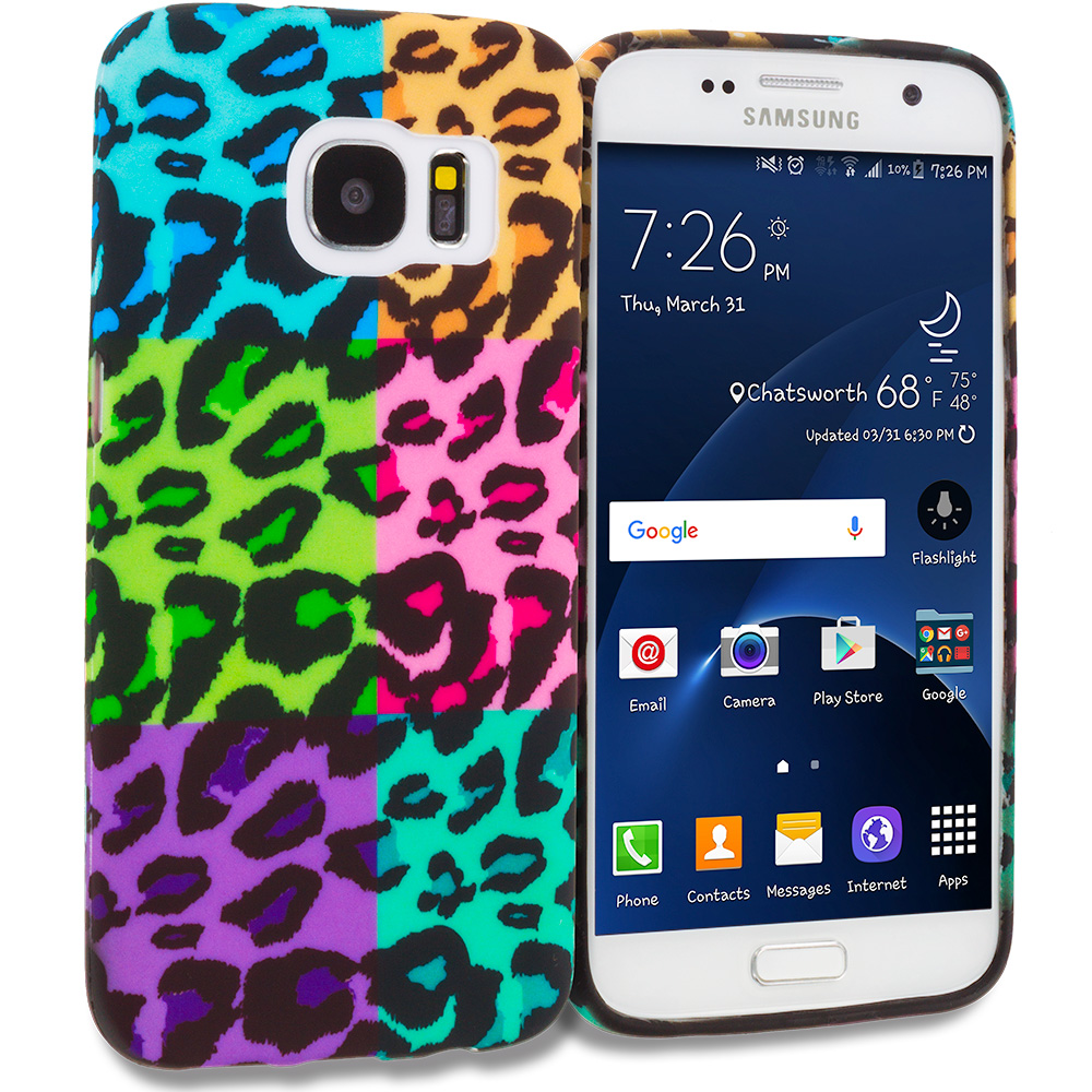 Samsung Galaxy S7 Edge Splicing Grid Leopard TPU Design Soft Rubber Case Cover