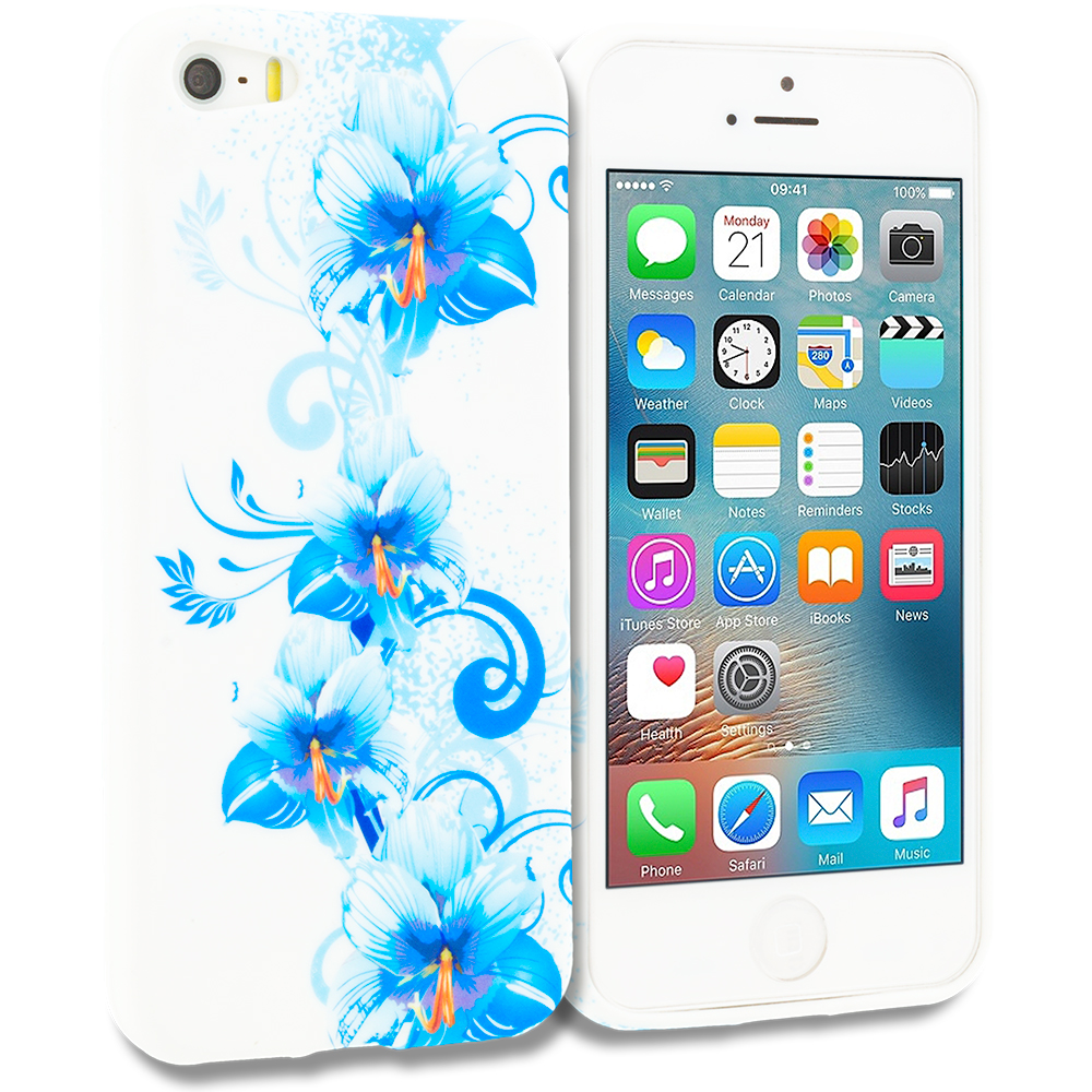 Apple iPhone 5/5S/SE Blue White Flower TPU Design Soft Rubber Case Cover