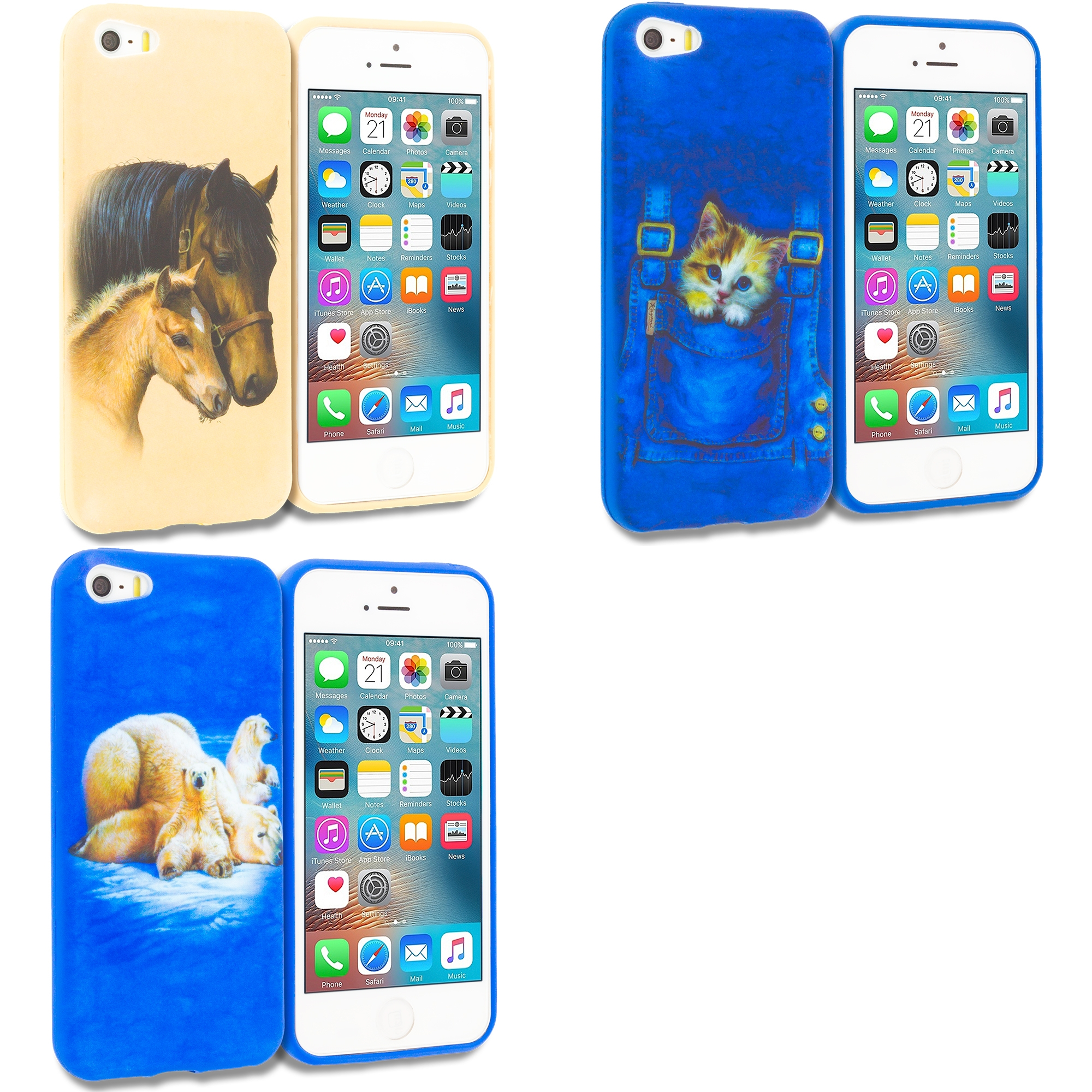 Apple iPhone 5/5S/SE Combo Pack : Horse TPU Design Soft Rubber Case Cover