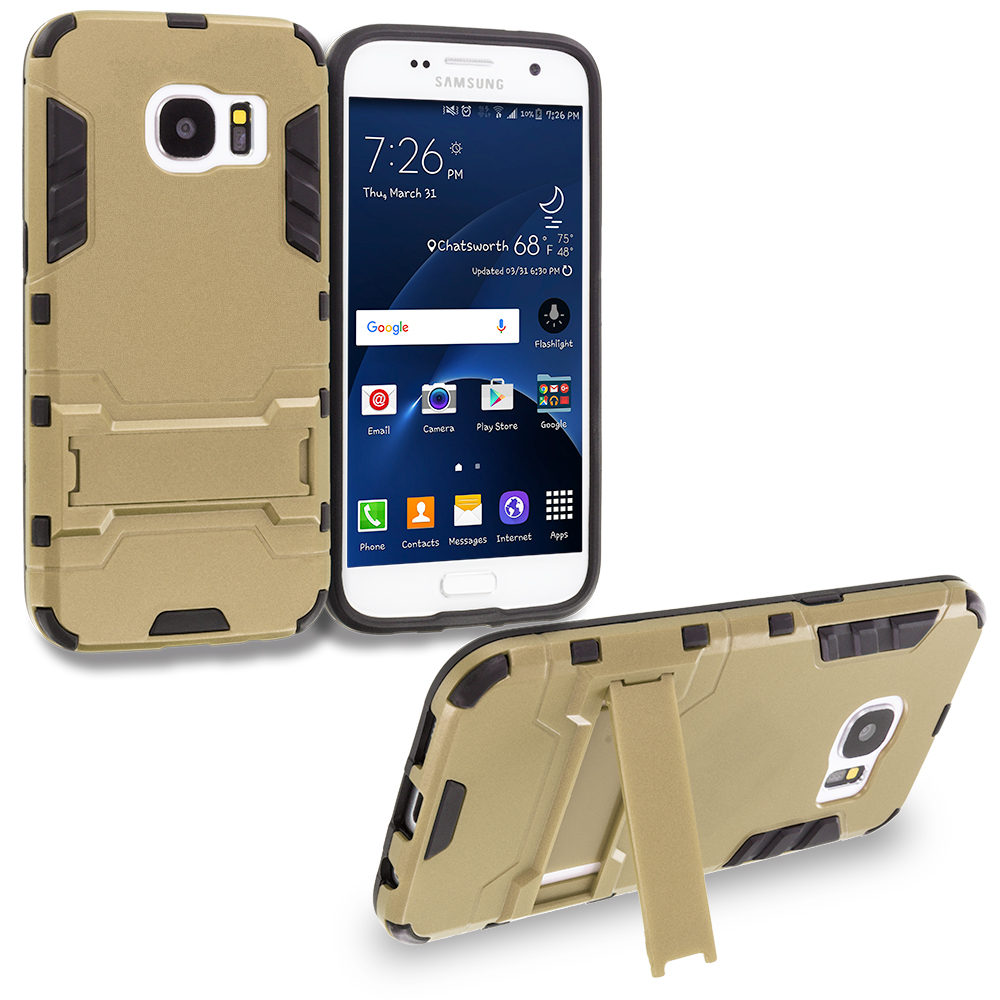 Samsung Galaxy S7 Combo Pack : Gold Hybrid Transformer Armor Slim Shockproof Case Cover Kickstand : Color Gold