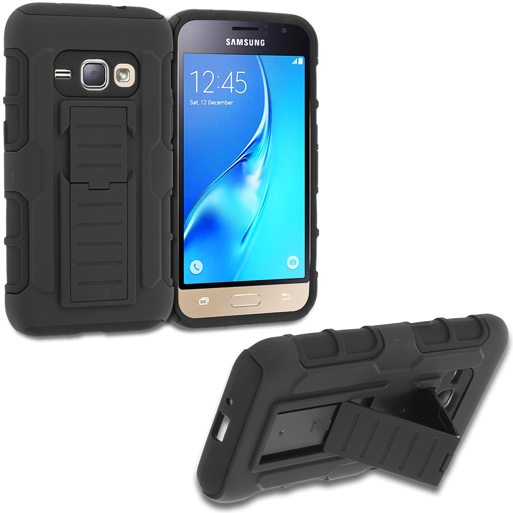 Samsung Galaxy J1 2016 Amp 2 Black Hybrid Shock Absorption Robot Armor Heavy Duty Case Cover with Belt Clip Holster