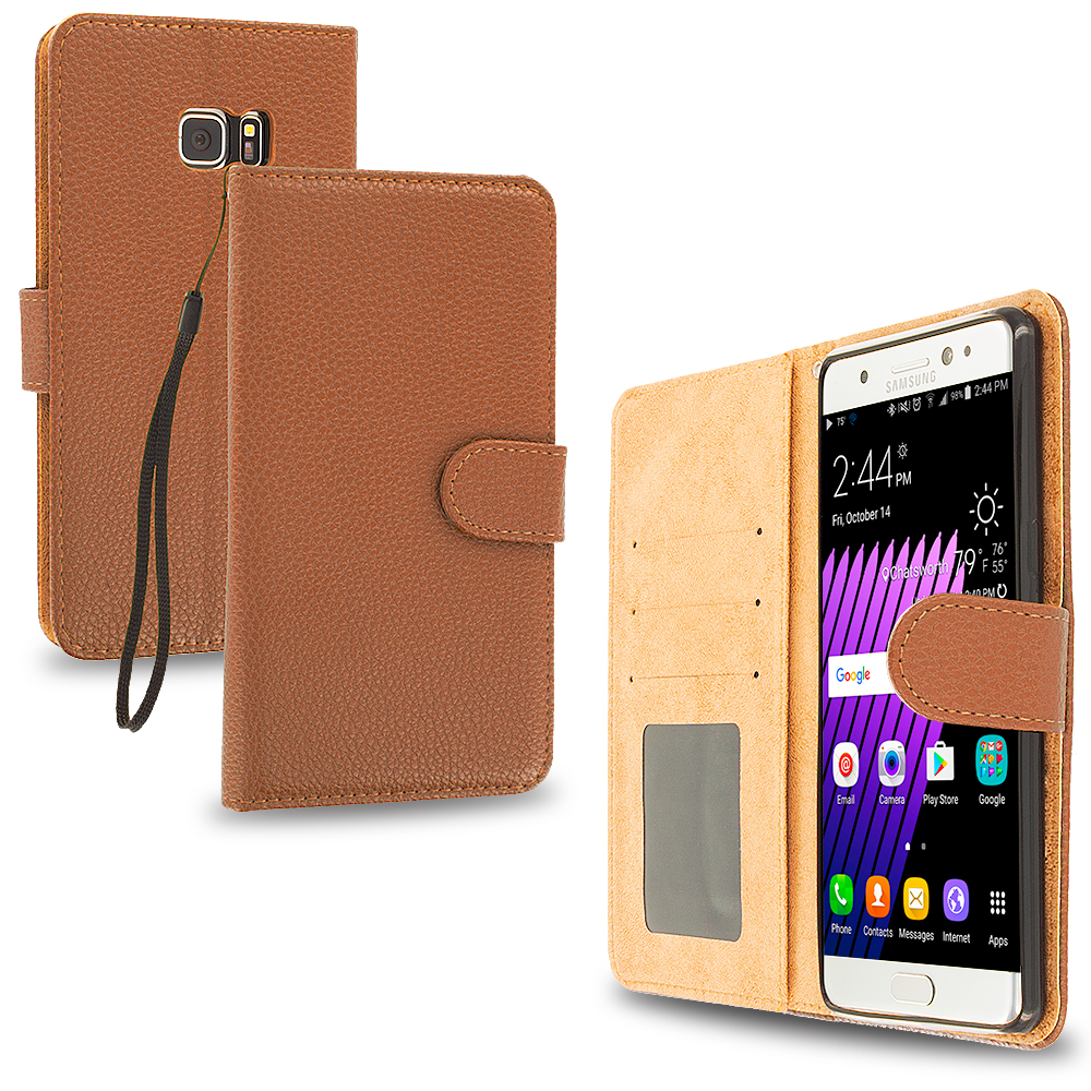Samsung Galaxy Note 7 Brown Leather Wallet Pouch Case Cover with Slots