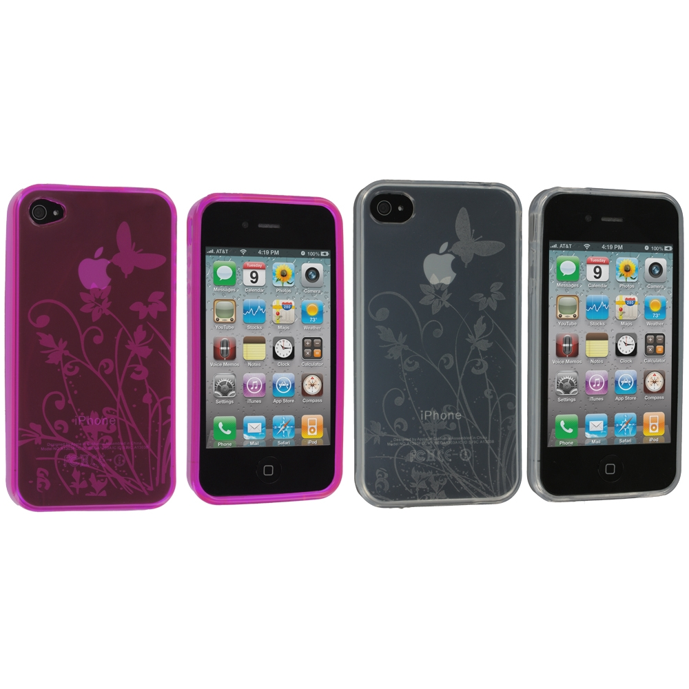 Apple iPhone 4 / 4S 2 in 1 Combo Bundle Pack - Butterfly Pink Clear TPU Rubber Skin Case Cover
