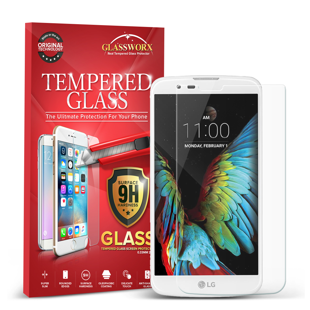 LG K10 GlassWorX HD Clear Tempered Glass Screen Protector