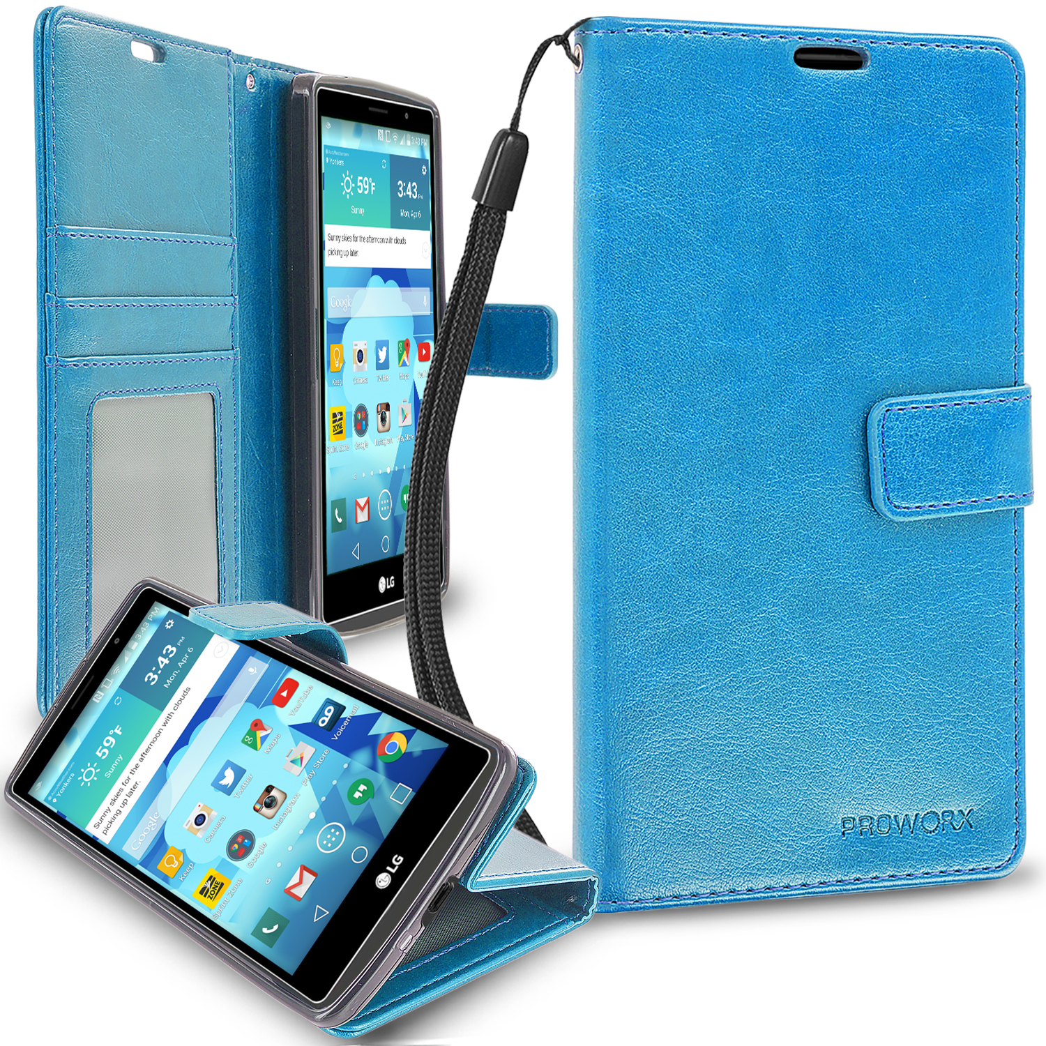 LG G Vista 2 Baby Blue ProWorx Wallet Case Luxury PU Leather Case Cover With Card Slots & Stand