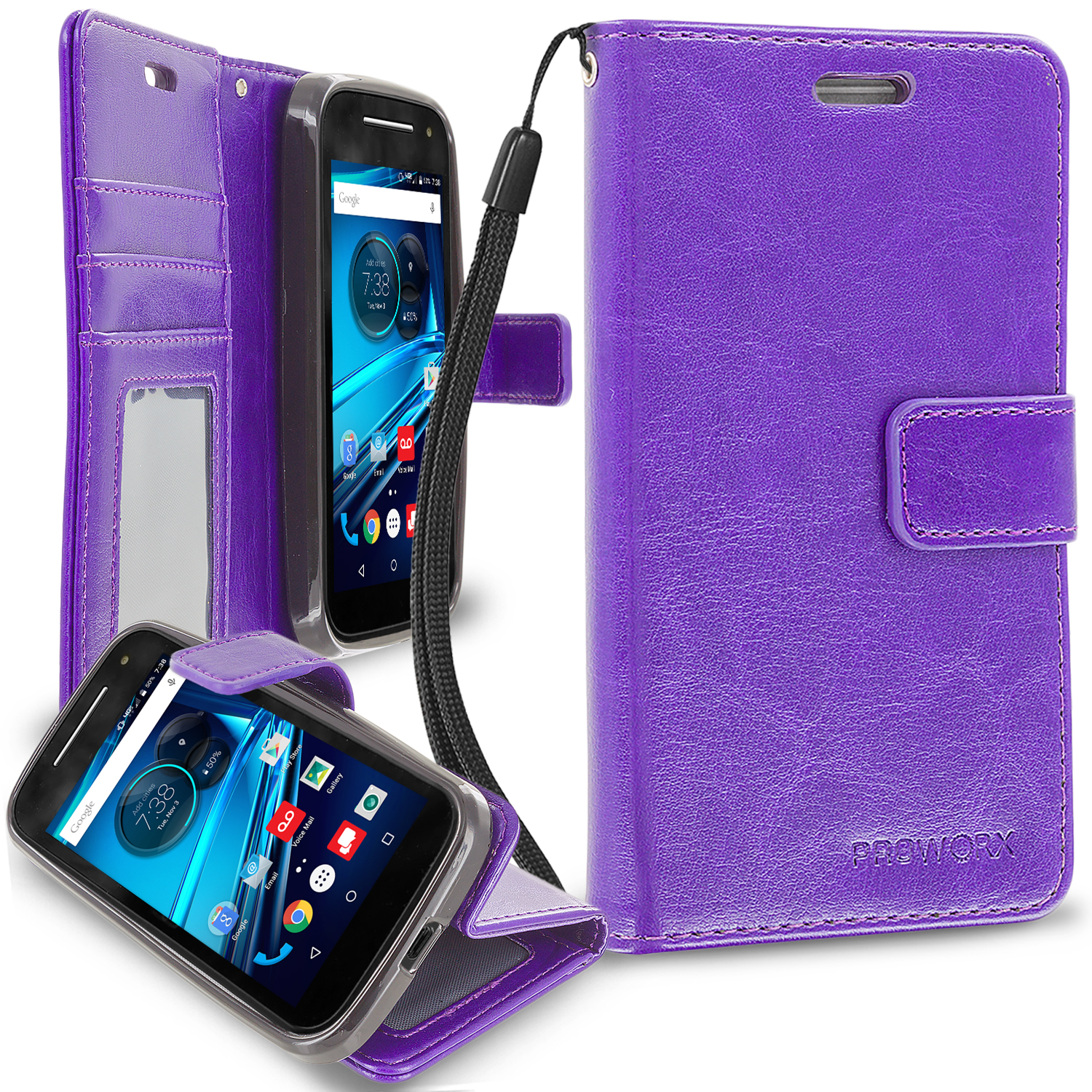 Motorola Moto E LTE 2nd Generation Purple ProWorx Wallet Case Luxury PU Leather Case Cover With Card Slots & Stand