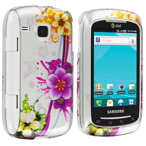 Samsung Doubletime i857 Purple Flower Chain Design Crystal Hard Case Cover