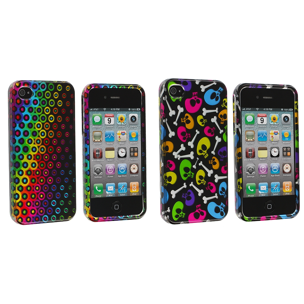 Apple iPhone 4 / 4S 2 in 1 Combo Bundle Pack - Rainbow Dots Design Crystal Hard Case Cover