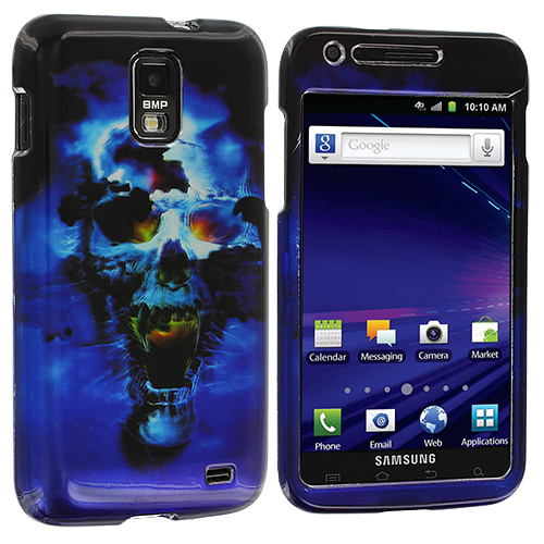 Samsung Skyrocket i727 Blue Skulls Design Crystal Hard Case Cover