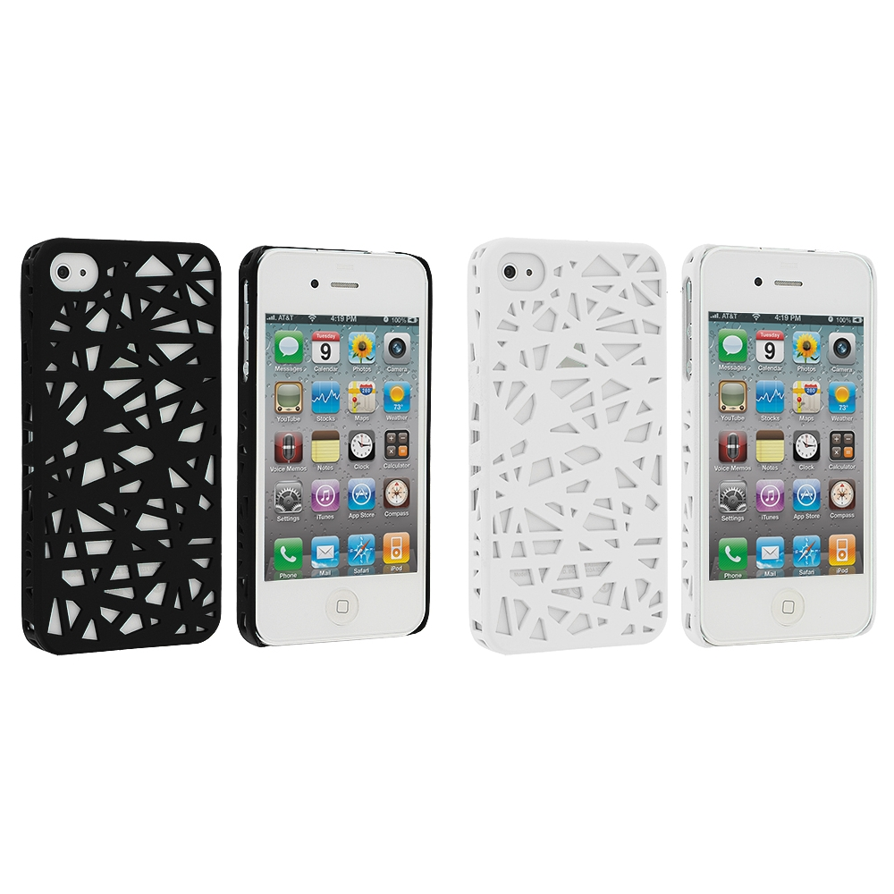 Apple iPhone 4 / 4S 2 in 1 Combo Bundle Pack - Black White Birds Nest Hard Rubberized Back Cover Case