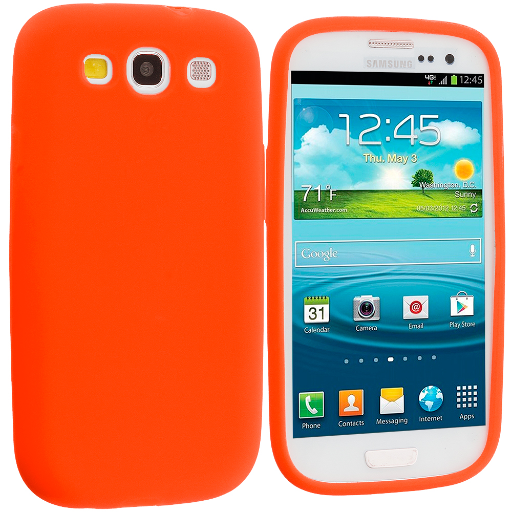 Samsung Galaxy S3 Orange Silicone Soft Skin Case Cover