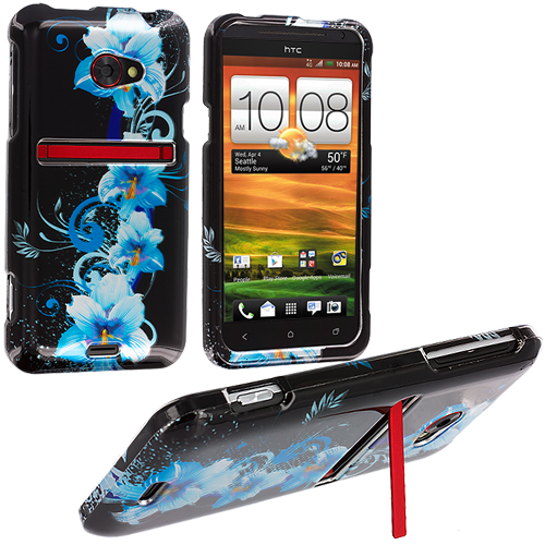 HTC EVO 4G LTE Blue Flowers Design Crystal Hard Case Cover