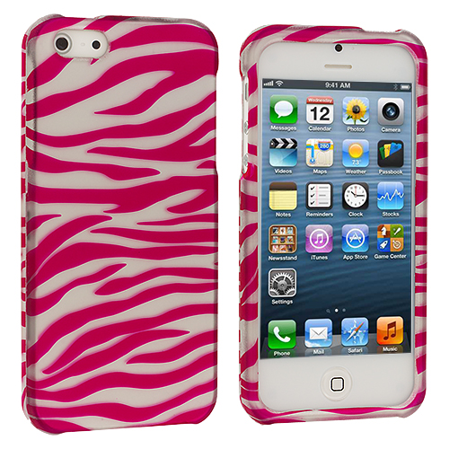 Apple iPhone 5/5S/SE 4 in 1 Combo Bundle Pack - Leopard Zebra Pink Hard Rubberized Design Case Cover : Color Pink / White Zebra