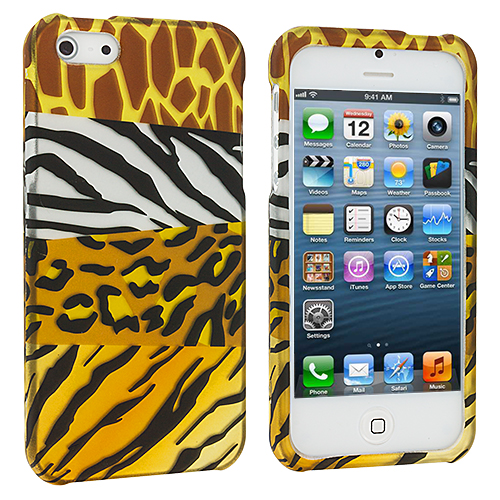 Apple iPhone 5/5S/SE 2 in 1 Combo Bundle Pack - Mix Animal Zebra Skin Hard Rubberized Design Case Cover : Color Mix Animal Skin