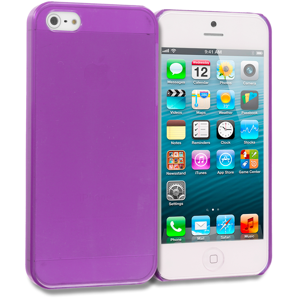 Apple iPhone 5/5S/SE Combo Pack : Hot Pink Crystal Hard Back Cover Case : Color Purple