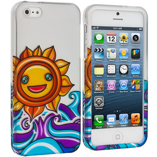 Apple iPhone 5/5S/SE Combo Pack : Colorful Circle on White Hard Rubberized Design Case Cover : Color Sunrise on the Sea