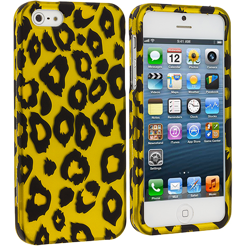 Apple iPhone 5/5S/SE Black Leopard on Golden Hard Rubberized Design Case Cover