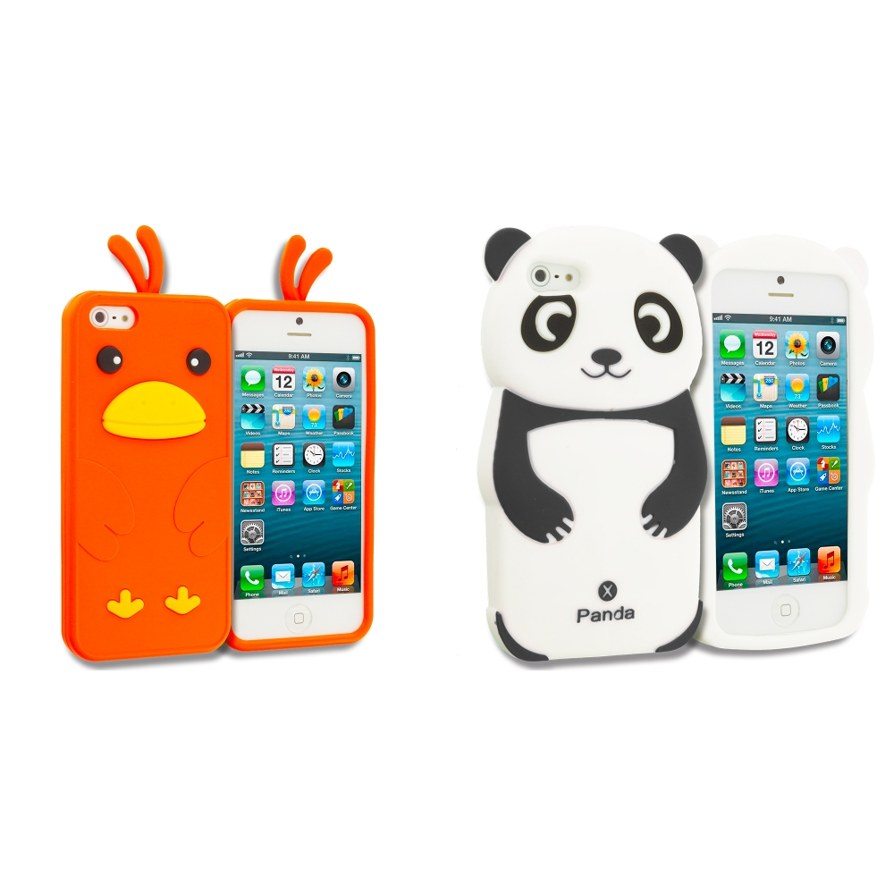 Apple iPhone 5/5S/SE Combo Pack : Black Panda Silicone Design Soft Skin Case Cover