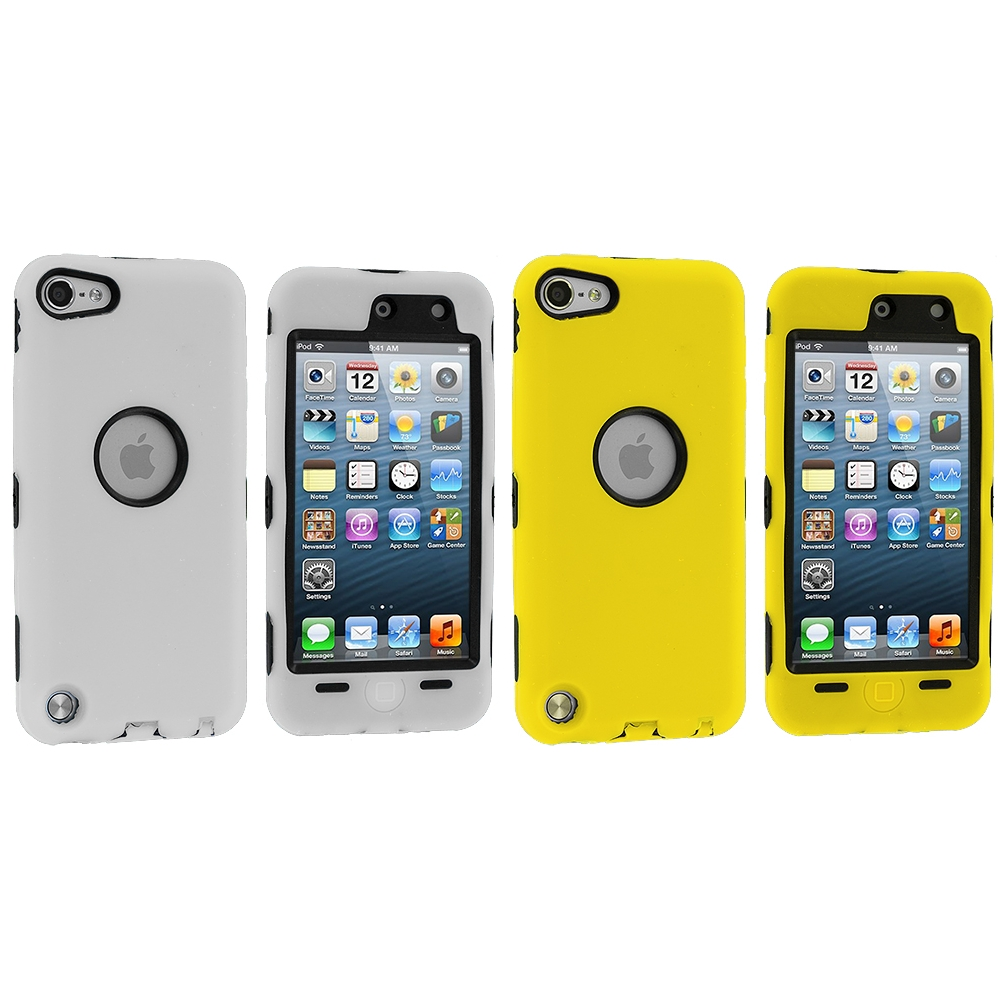 Apple iPod Touch 5th 6th Generation 2 in 1 Combo Bundle Pack - White Yellow Deluxe Hybrid Deluxe Hard/Soft Case Cover