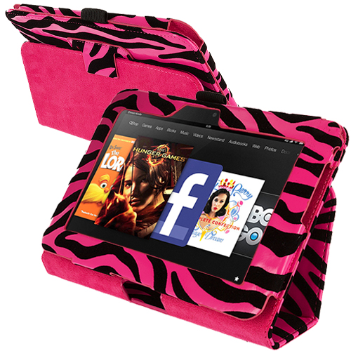 Amazon Kindle Fire HD 7 Hot Pink Zebra Folio Pouch Case Cover Stand