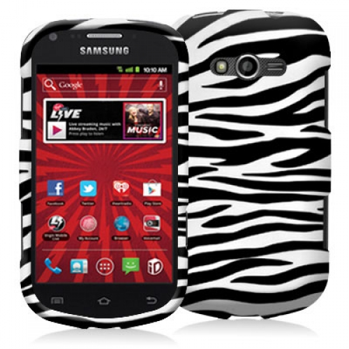 Samsung Galaxy Reverb M950 Black / White Zebra Hard Rubberized Design Case Cover