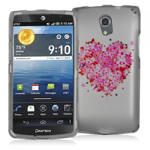 Pantech Discover Hearts Full of Flowers White Hard Rubberized Design Case Cover