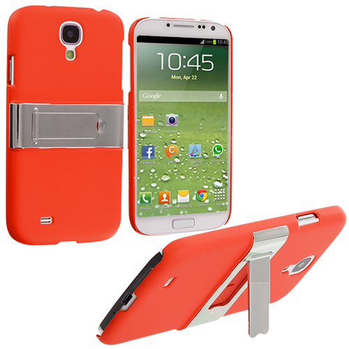Samsung Galaxy S4 Orange Hard Rubberized Chrome Stand Case Cover