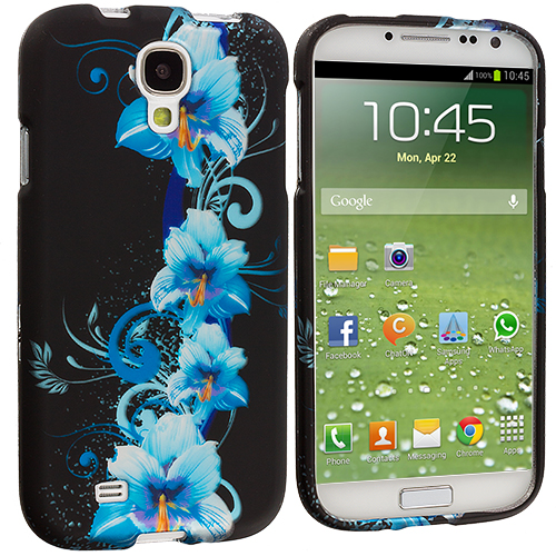 Samsung Galaxy S4 Blue Flower Hard Rubberized Design Case Cover