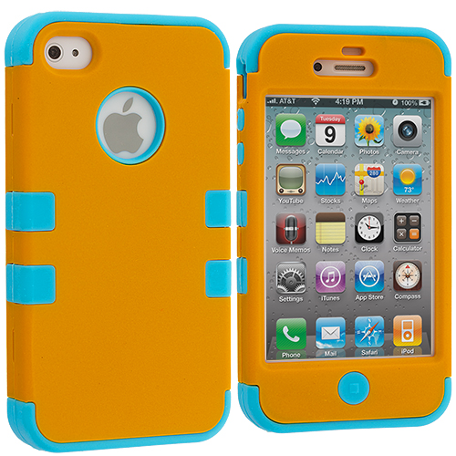 Apple iPhone 4 / 4S Baby Blue / Brown Hybrid Tuff Hard/Soft 3-Piece Case Cover