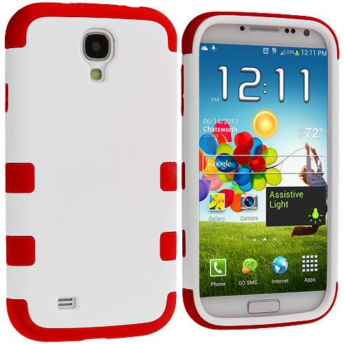 Samsung Galaxy S4 Red / White Hybrid Tuff Hard/Soft 3-Piece Case Cover
