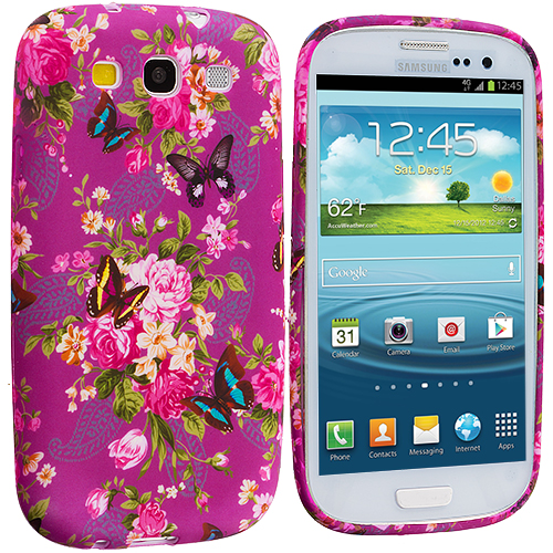 Samsung Galaxy S3 Purple Mixed Flower TPU Design Soft Case Cover