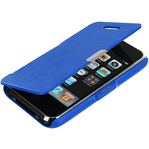 Apple iPhone 3G / 3GS Blue Texture Magnetic Wallet Case Cover Pouch