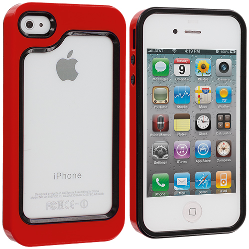 Apple iPhone 4 / 4S 2 in 1 Combo Bundle Pack - Black / Red Hybrid TPU Bumper Case Cover : Color Black / Red