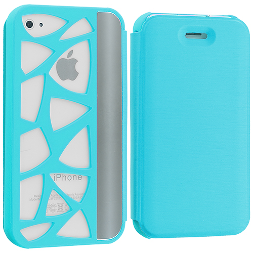 Apple iPhone 4 / 4S 2 in 1 Combo Bundle Pack - Baby Blue Black Wallet Case Cover Pouch : Color Baby Blue Carved Out