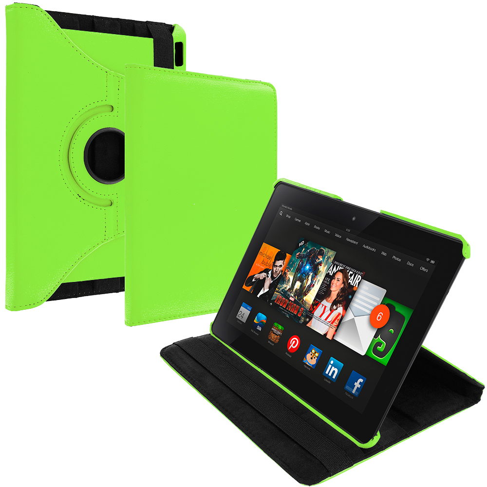 Amazon Kindle Fire HDX 8.9 Neon Green 360 Rotating Leather Pouch Case Cover Stand