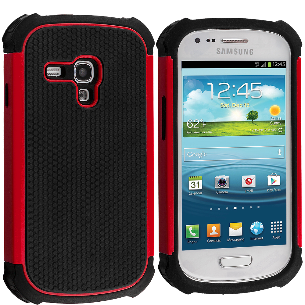 Samsung Galaxy S3 Mini Black / Red Hybrid Rugged Hard/Soft Case Cover