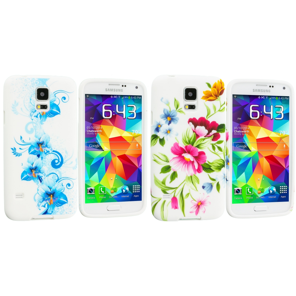 Samsung Galaxy S5 2 in 1 Combo Bundle Pack - Blue White Flower TPU Design Soft Case Cover