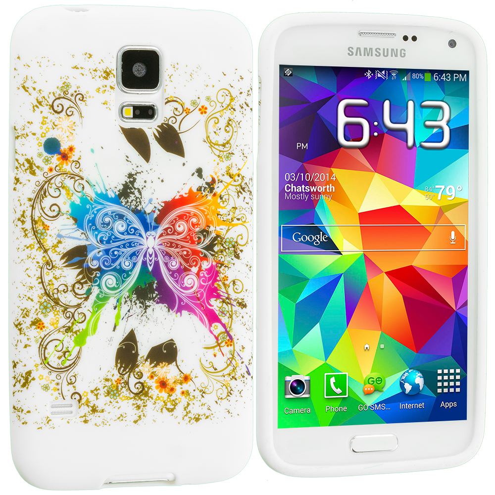 Samsung Galaxy S5 Colorful Butterfly TPU Design Soft Case Cover