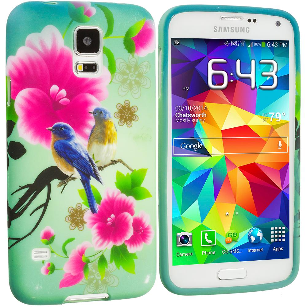 Samsung Galaxy S5 Blue Bird Pink Flower TPU Design Soft Case Cover