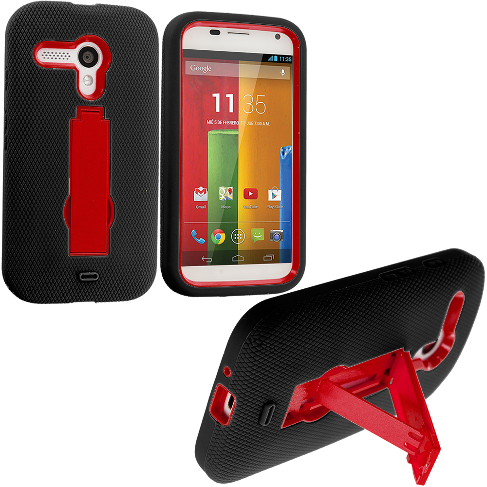 Motorola Moto G Black / Red Hybrid Heavy Duty Hard/Soft Case Cover with Stand