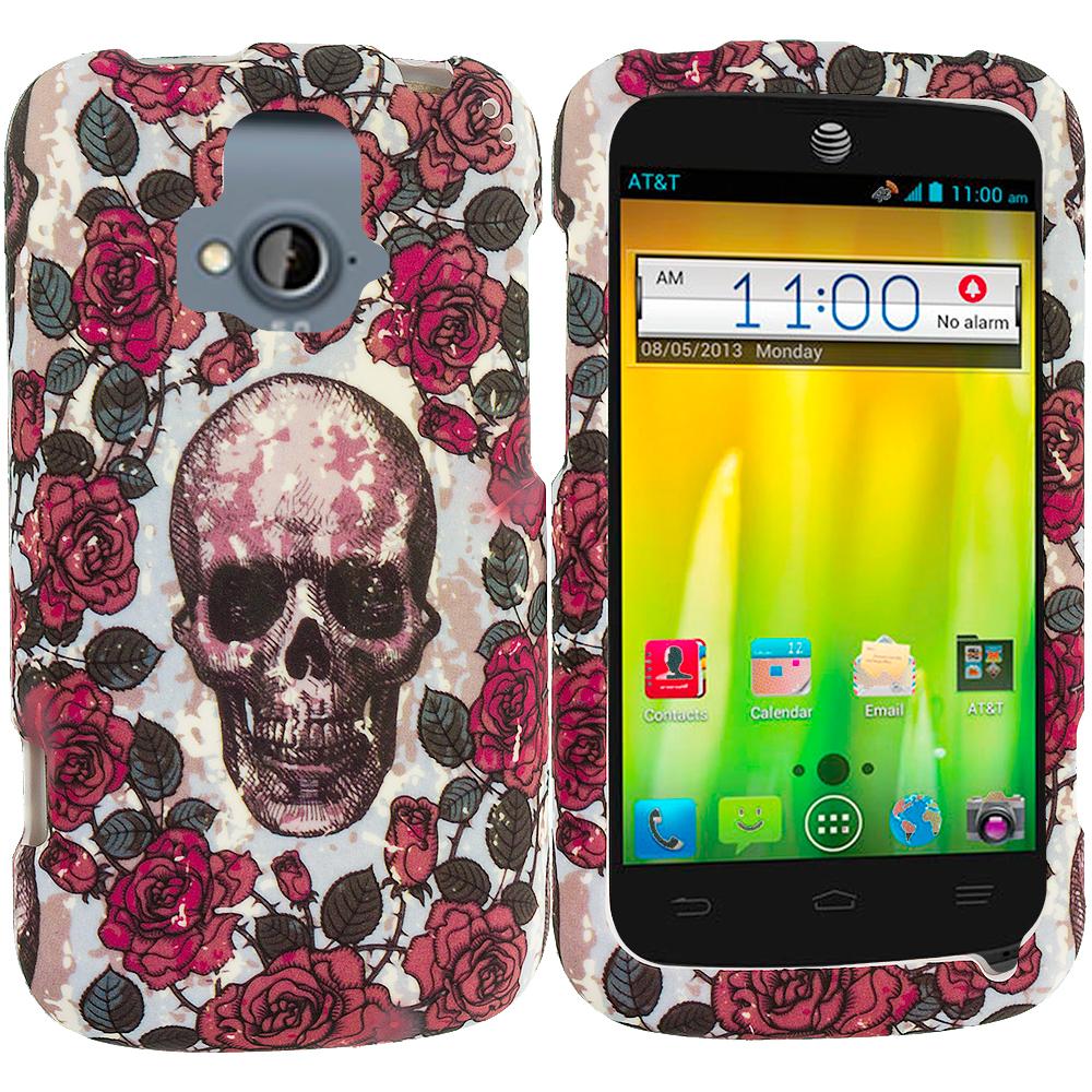 ZTE Radiant Gorgeous Skull Hard Rubberized Design Case Cover