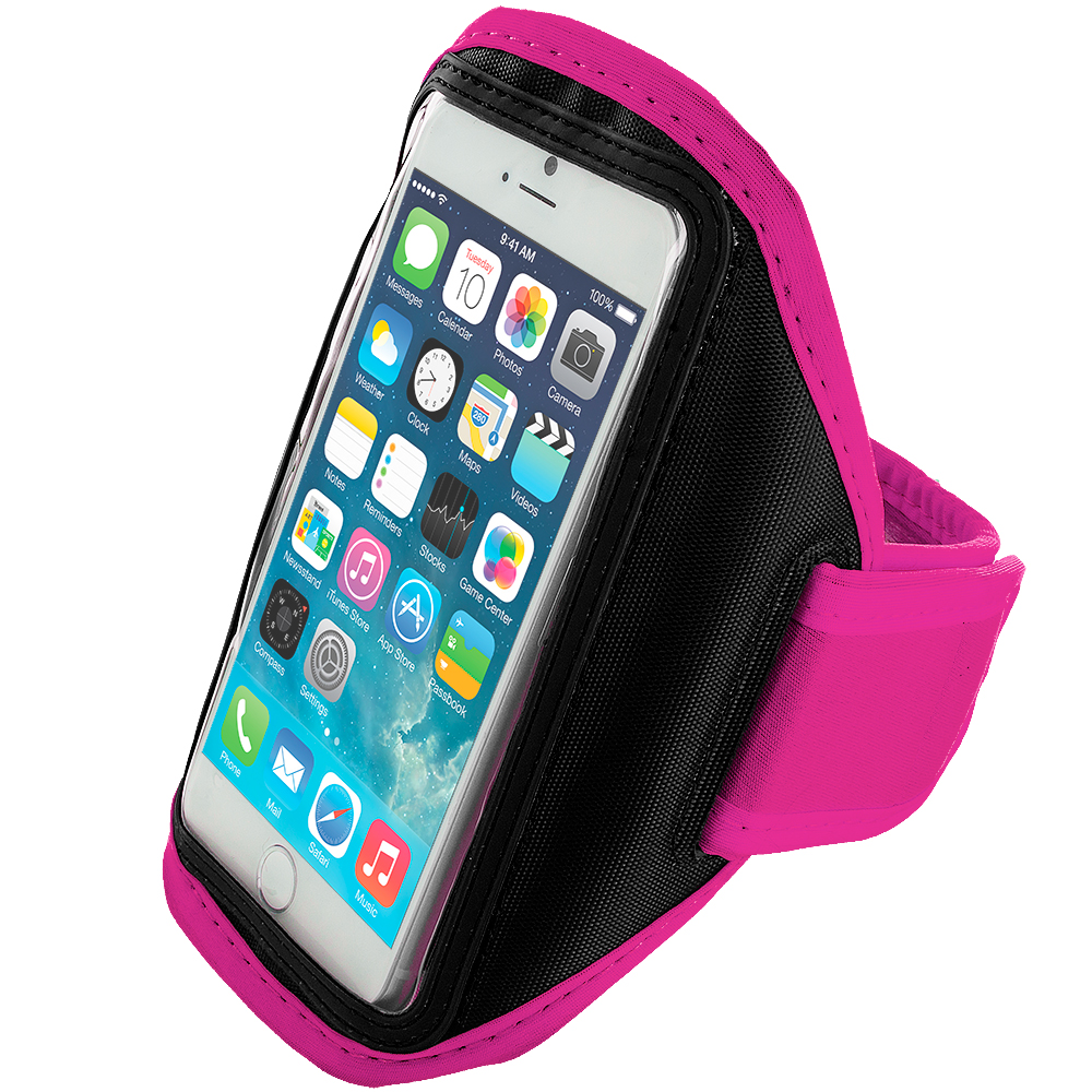 Apple iPhone 6 6S (4.7) 2 in 1 Combo Bundle Pack - Running Sports Gym Armband : Color Hot Pink