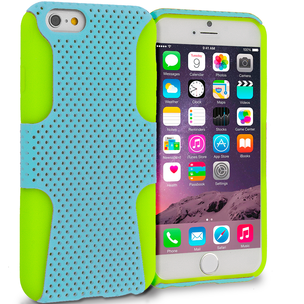 Apple iPhone 6 6S (4.7) Neon Green / Baby Blue Hybrid Mesh Hard/Soft Case Cover