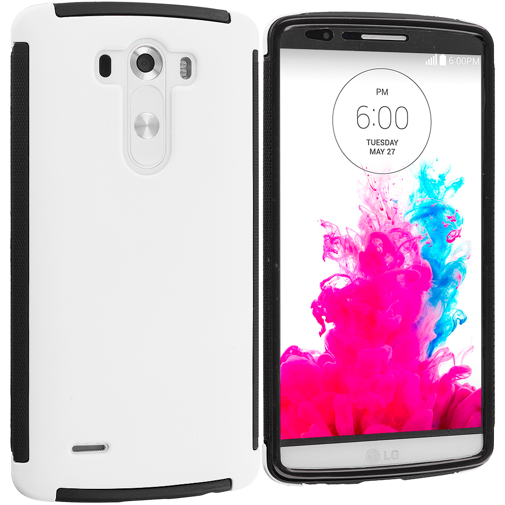 LG G3 Black / White Hybrid Hard TPU Shockproof Case Cover With Built in Screen Protector