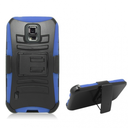 Samsung Galaxy S5 Active Black / Blue Hybrid Heavy Duty Rugged Case Cover with Belt Clip Holster