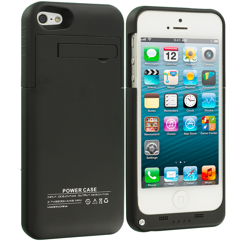 Apple iPhone 5C Black 2200mAh External Backup Battery Case Cover