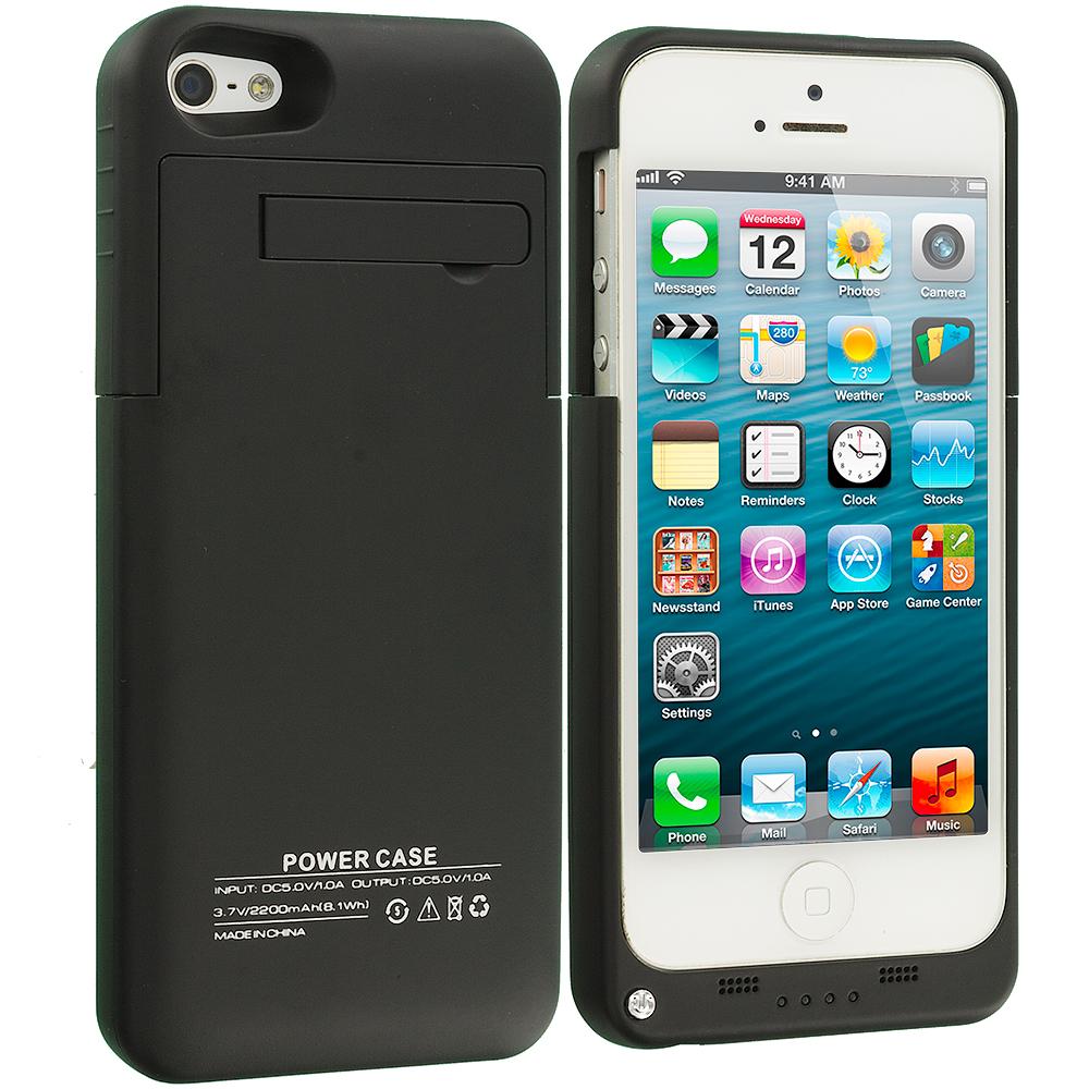 Apple iPhone 5C Black 2200mAh External Backup Battery Case Cover