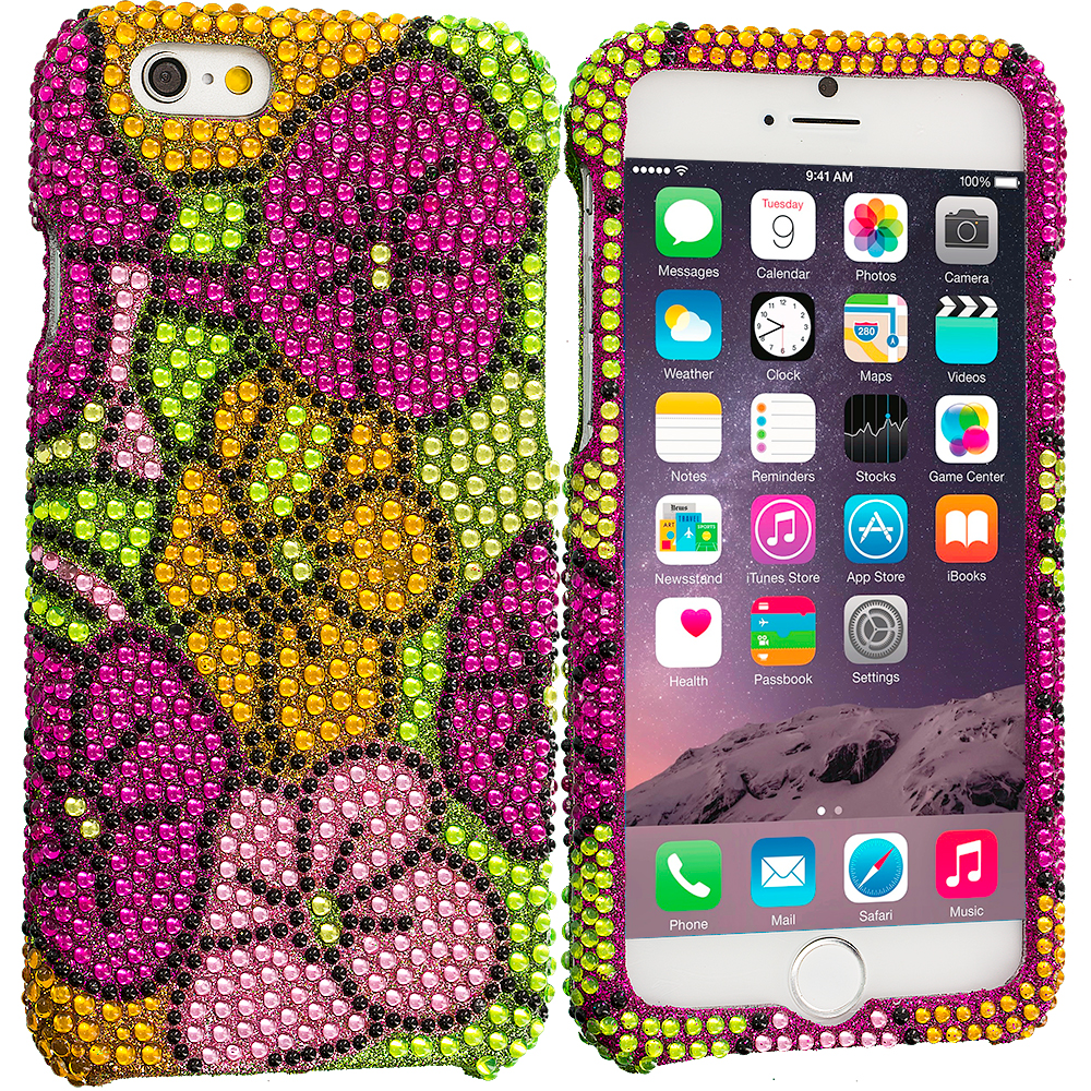 Apple iPhone 6 6S (4.7) Hot Pink Hawaii Flower Bling Rhinestone Case Cover