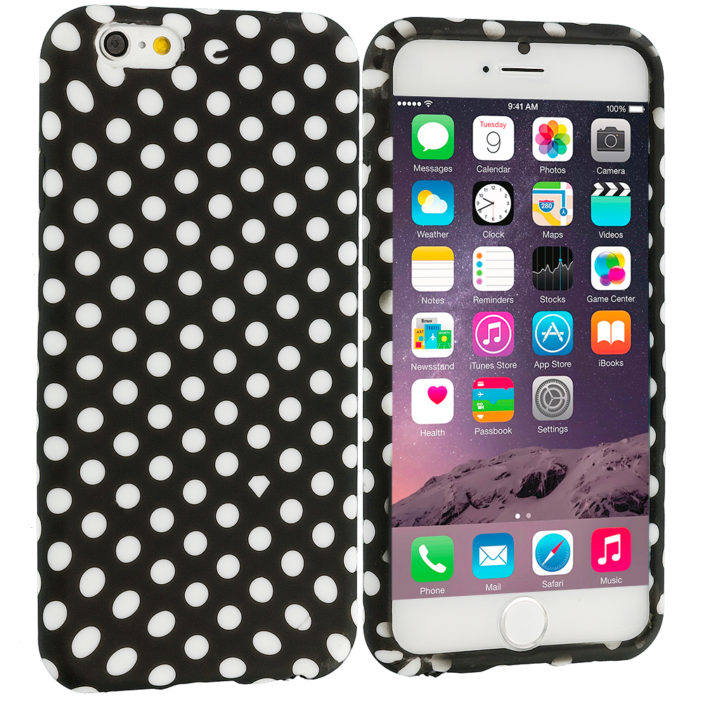 Apple iPhone 6 Plus 6S Plus (5.5) Black / White Polka Dot TPU Design Soft Rubber Case Cover
