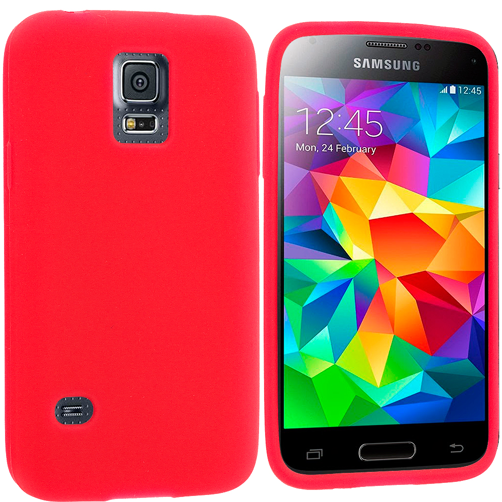 Samsung Galaxy S5 Mini G800 Red Silicone Soft Skin Rubber Case Cover